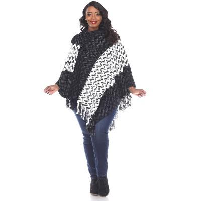 White Mark Womens Plus Stripe Three Quarter Sleeve V Neck Poncho Sweater - Black One Size Fits Most Plus