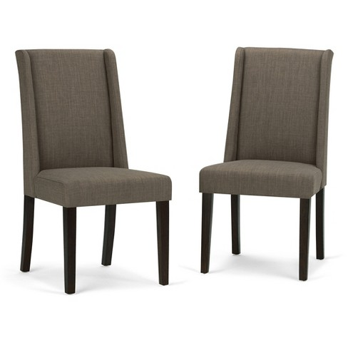 Sotherby Upholstered Linen Look Deluxe Dining Chair - Light Mocha (Set of 2) - Simpli Home - image 1 of 7