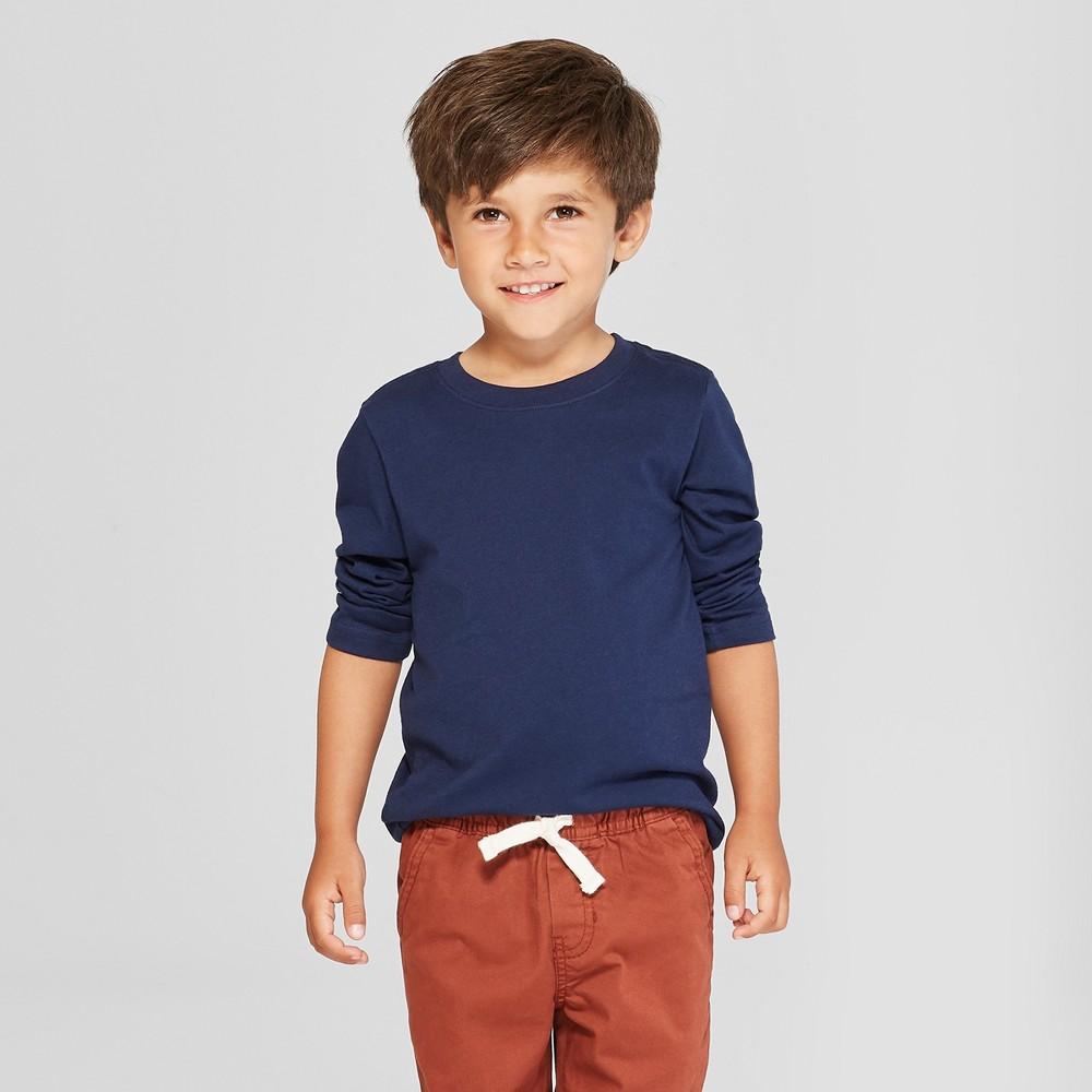 Toddler Boys' Long Sleeve T-Shirt - Cat & Jack Navy 18M, Blue