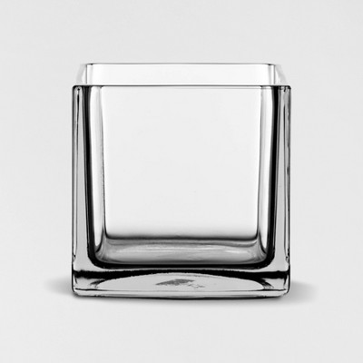 "6"" x 6"" Decorative Square Glass Vase Clear - Threshold™"