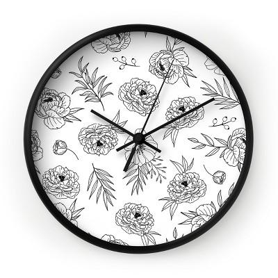 Emanuela Carratoni Floral Line Art Round Black Wall Clock - Deny Designs