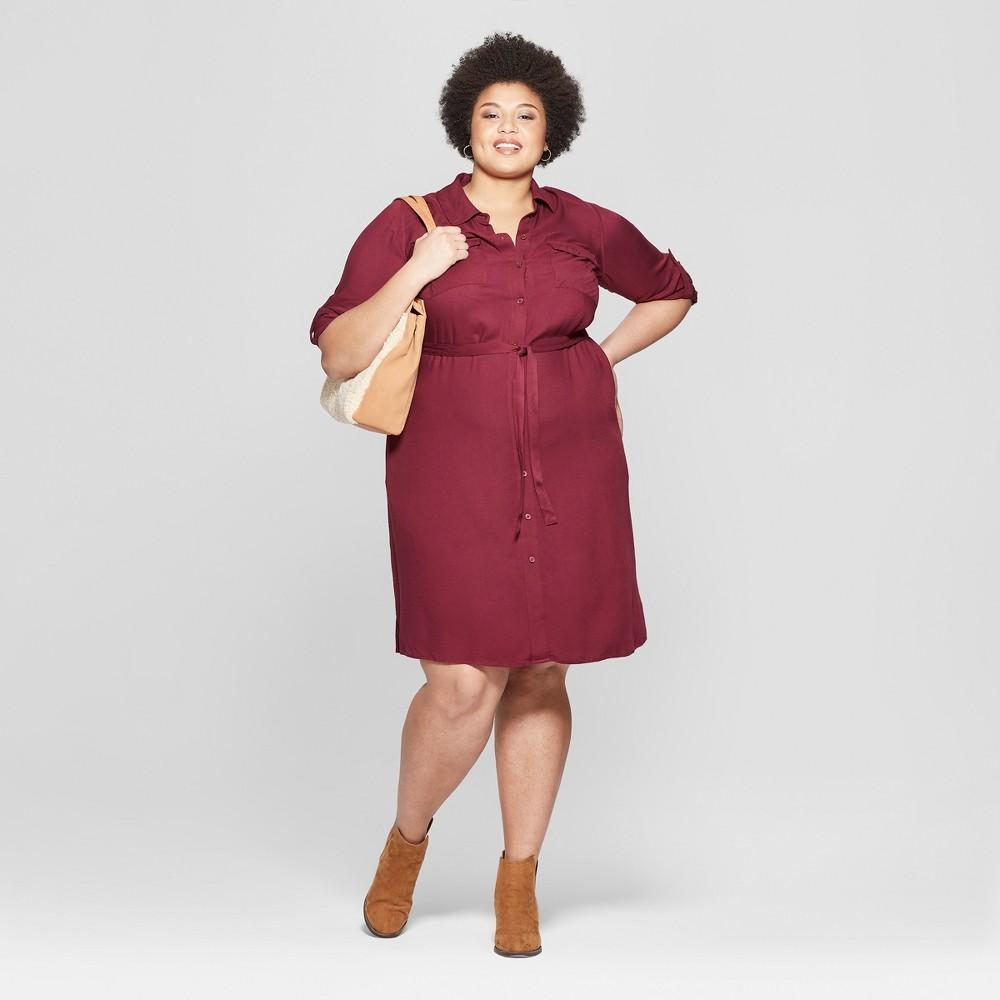 Women's Plus Size Long Sleeve Collared Shirtdress - Ava & Viv Burgundy (Red) 2X