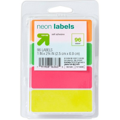 """96ct 1""""x2.75"""" Permanent Labels Neon - up & up™"""