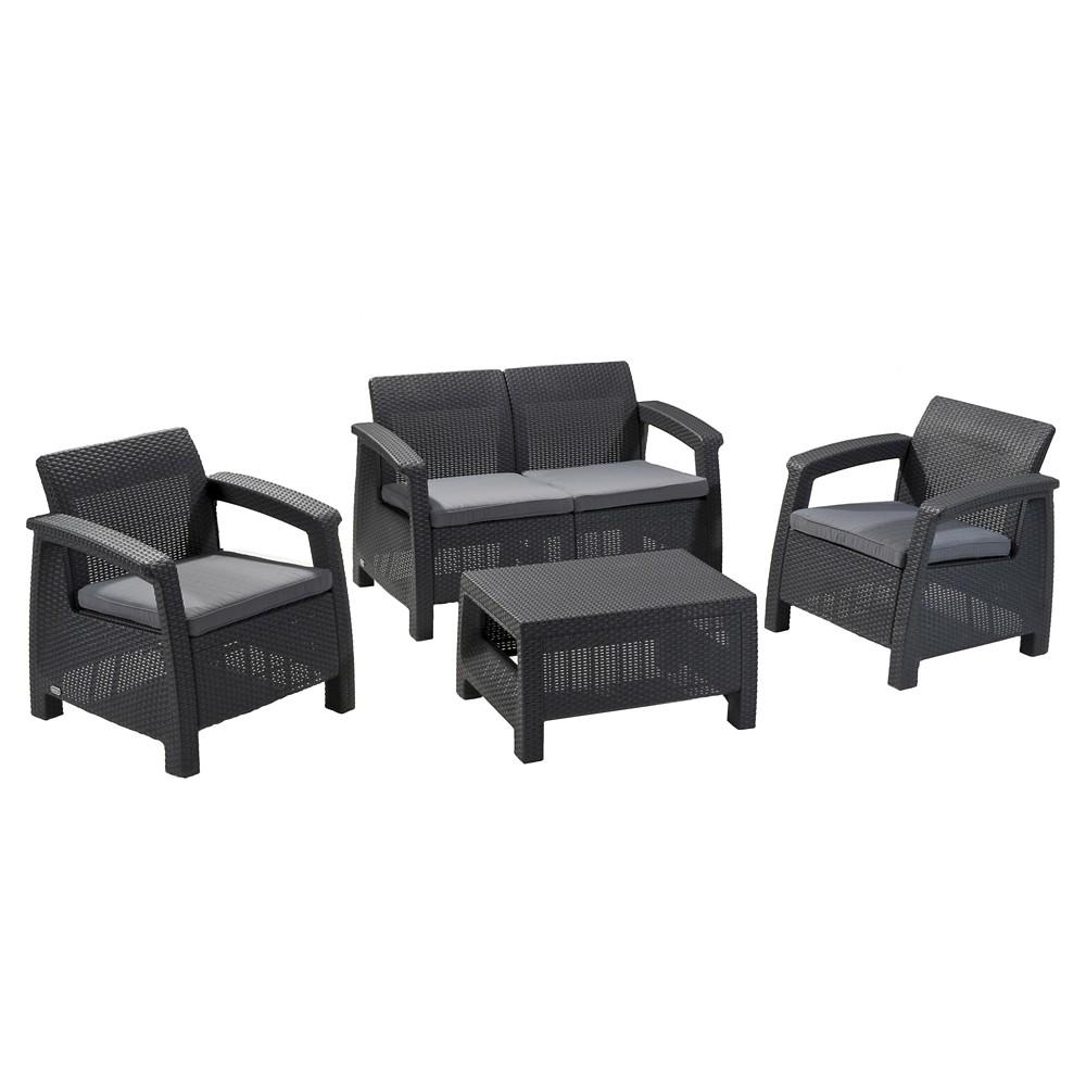 Corfu Patio Lounge Set with Cushions - Gray - Keter, Charcoal Gray