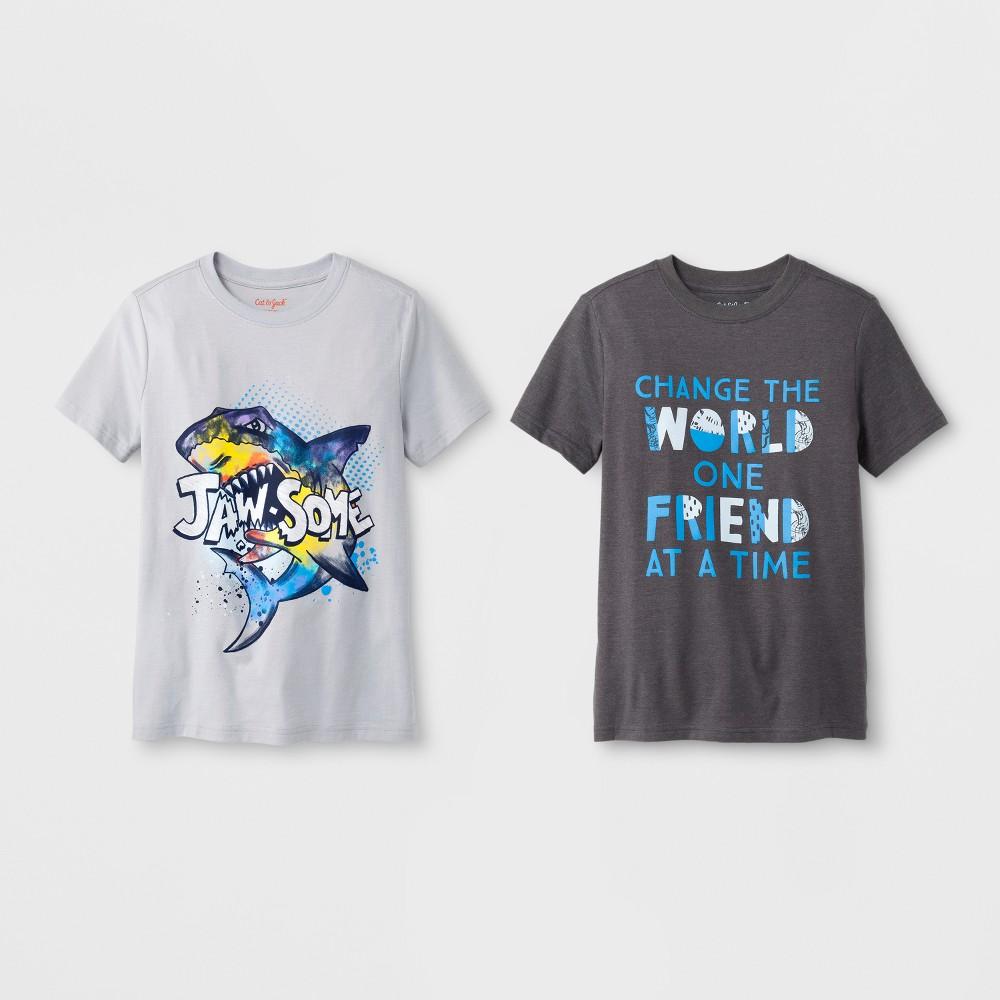 Boys' 2pk Short Sleeve T-Shirt - Cat & Jack Gray M