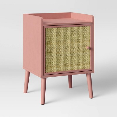 Rattan & Wood Bedside Cabinet Rose Pink - Pillowfort™