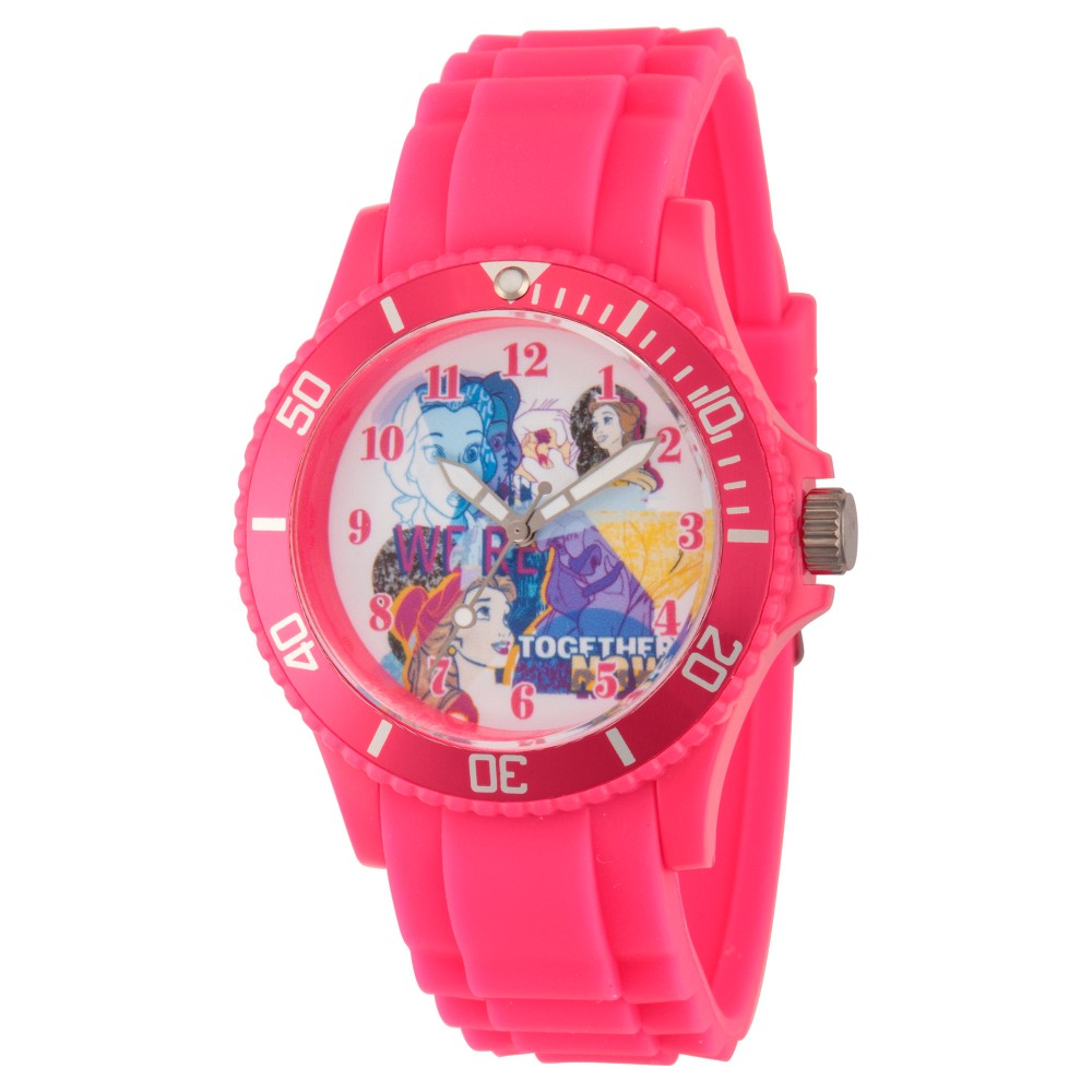 Women's Disney Princess Belle and Beast Pink Plastic Watch - Pink