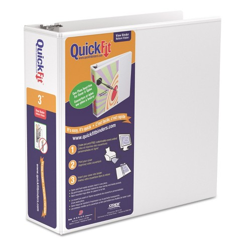 """Stride QuickFit D-Ring View Binder 3"""" Capacity 8 1/2 x 11 White 87050 - image 1 of 3"""
