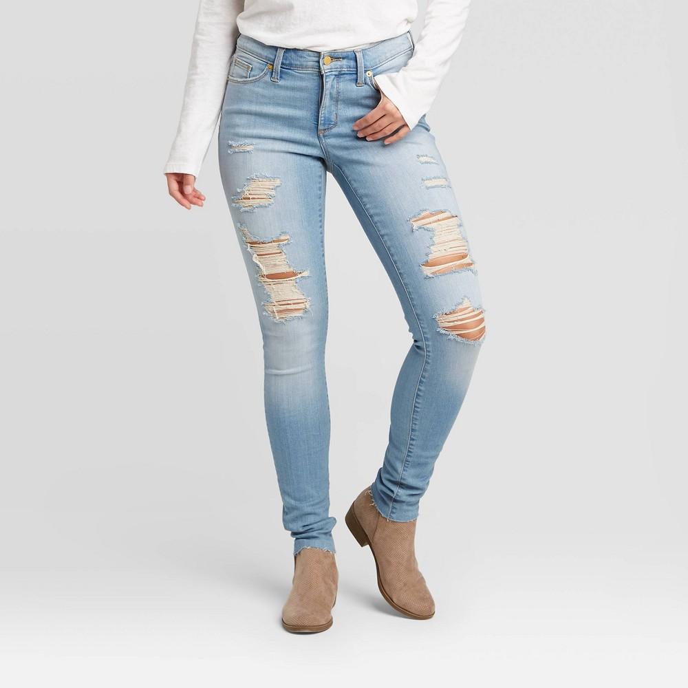 Women 39 S Mid Rise Distressed Skinny Jeans Universal Thread 8482 Light Wash 2