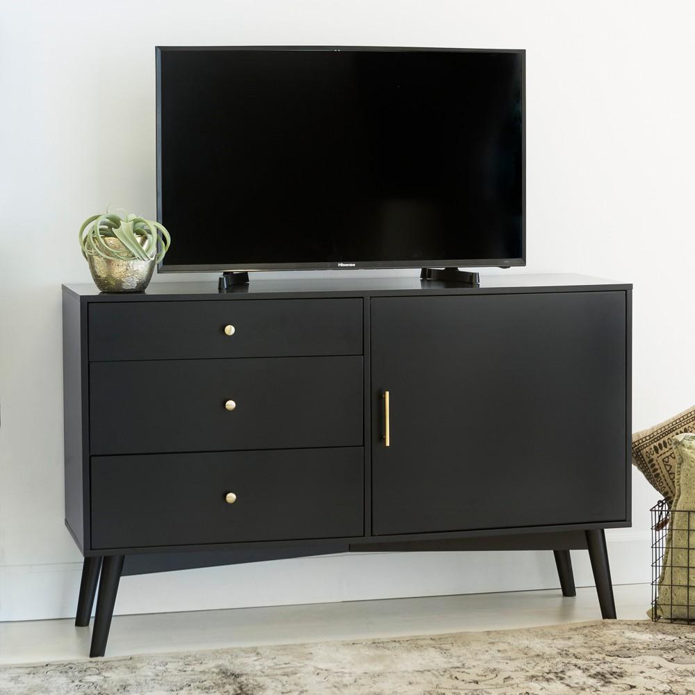 52 Mid - Century TV Console - Black - Saracina Home