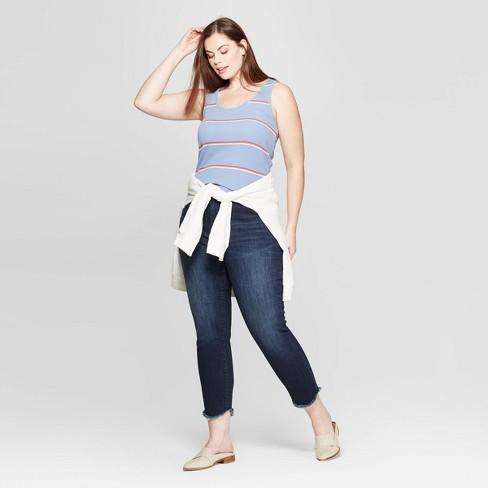 cad0c750a69b7 Women s Plus Size Striped Sleeveless Scoop Neck Rib Racerback Tank Top -  Universal Thread™ Red White   Target
