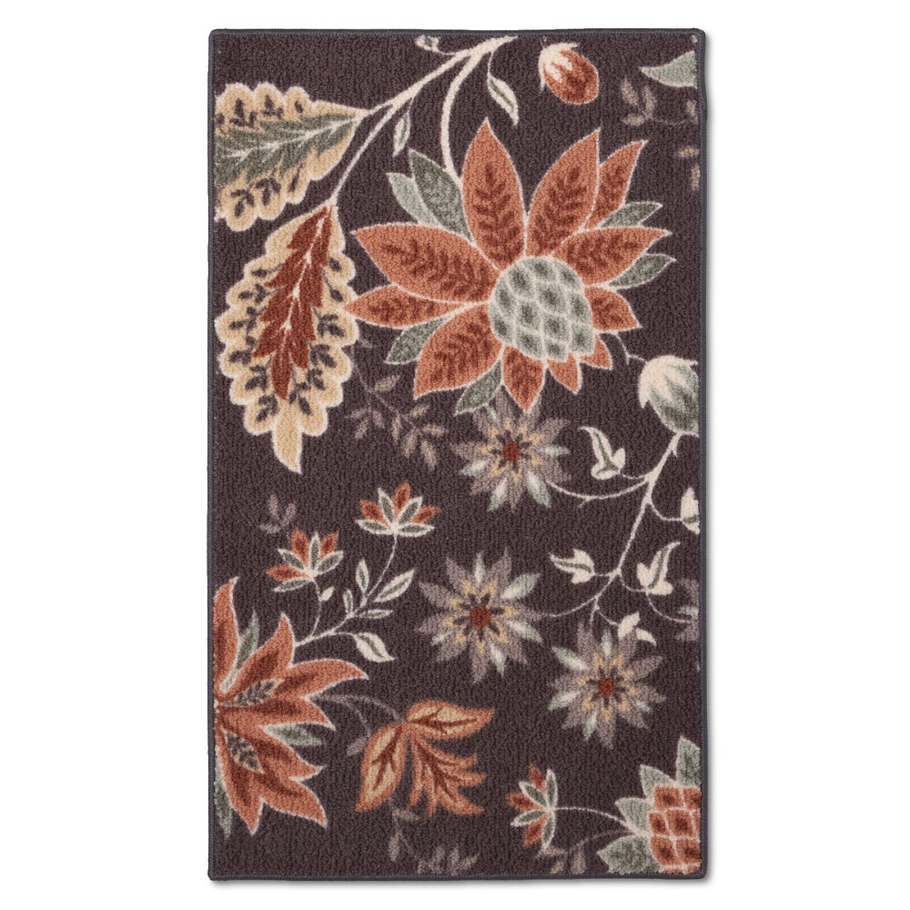 "Image of ""1'8""""x2'10"""" Floral Accent Rug Gray - Maples"""