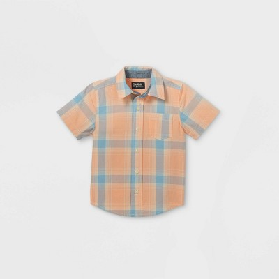 OshKosh B'gosh Toddler Boys' Plaid Woven Short Sleeve Button-Down Shirt - Orange