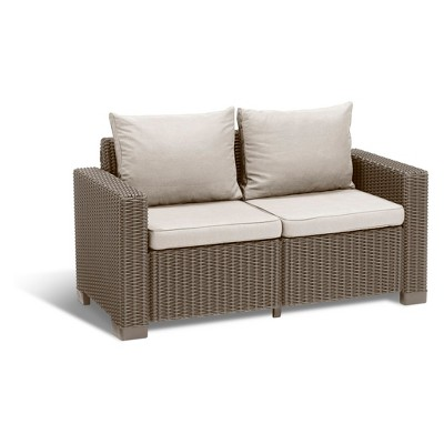 California Outdoor Resin Patio Loveseat With Cushions   Keter
