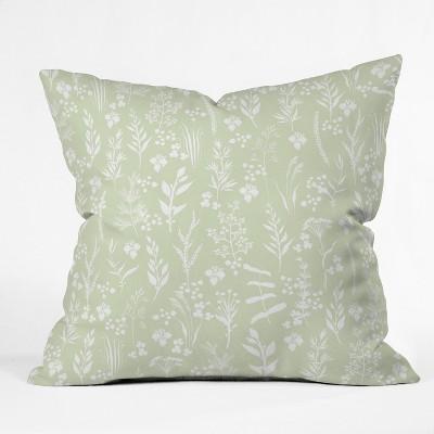 Iveta Abolina Floral Square Throw Pillow Green - Deny Designs