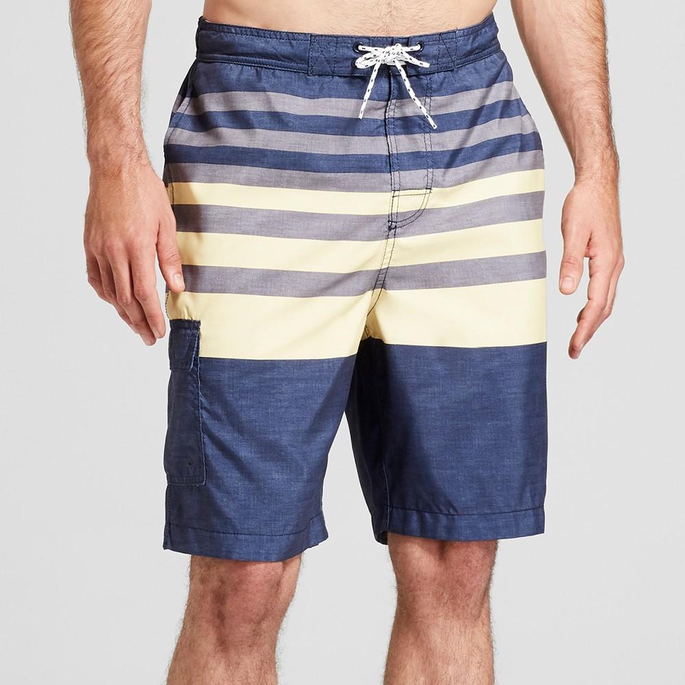 Men's Striped 9 Board Shorts - Goodfellow & Co Yellow XL, Blue