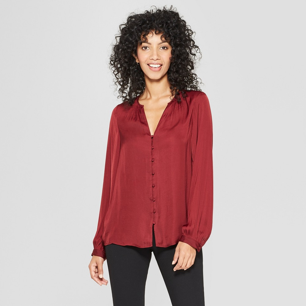 Women's Long Sleeve Satin Blouse - A New Day Burgundy (Red) L