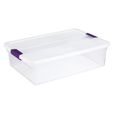 Sterilite 32qt Clear View Storage Bin with Latch Purple