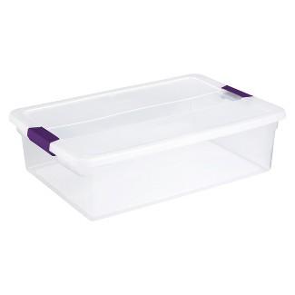Sterilite® ClearView Latch Storage Bin Clear with Purple Latch 8gal