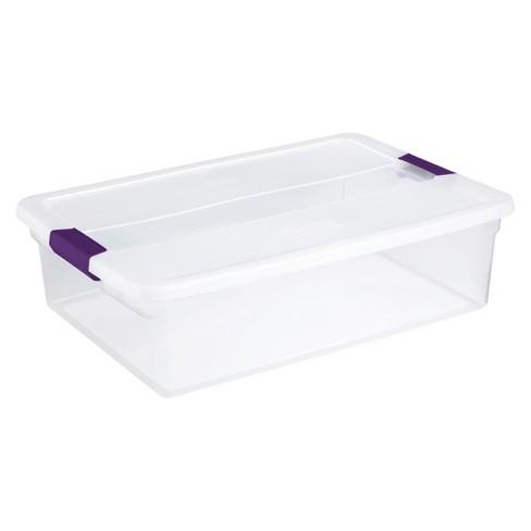 Sterilite 32qt Clear View Storage Bin with Latch Purple - image 1 of 4