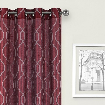 Kate Aurora Living 2 Pack Embroidered Trellis Semi Sheer Grommet Curtains