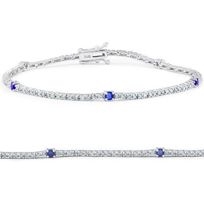 "Pompeii3 1 1/10 Ct Diamond & Genuine Blue Sapphire Tennis Bracelet 14k White Gold 7"""