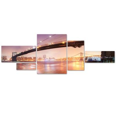 'Brooklyn Bridge Pano 5' by Moises Levy Ready to Hang Multi Panel Art Set
