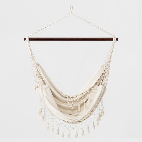 Flat Weave Macrame Fringe Hammock Chair with Spreader Bar Natural - Opalhouse™ - image 1 of 4