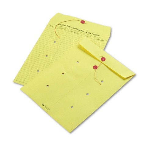 Quality Park Colored Paper String & Button Interoffice Envelope 10 x 13 Yellow 100/Box 63576 - image 1 of 1