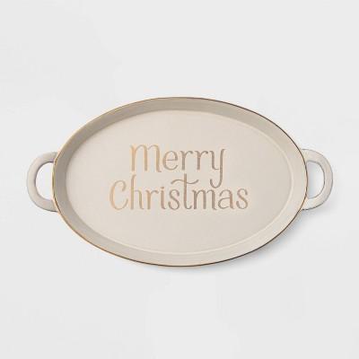 17.6  Terra Cotta Merry Christmas Serving Tray White - Threshold™