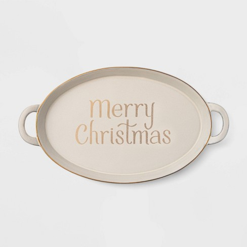 "17.6"" Terra Cotta Merry Christmas Serving Tray White - Threshold™ - image 1 of 3"