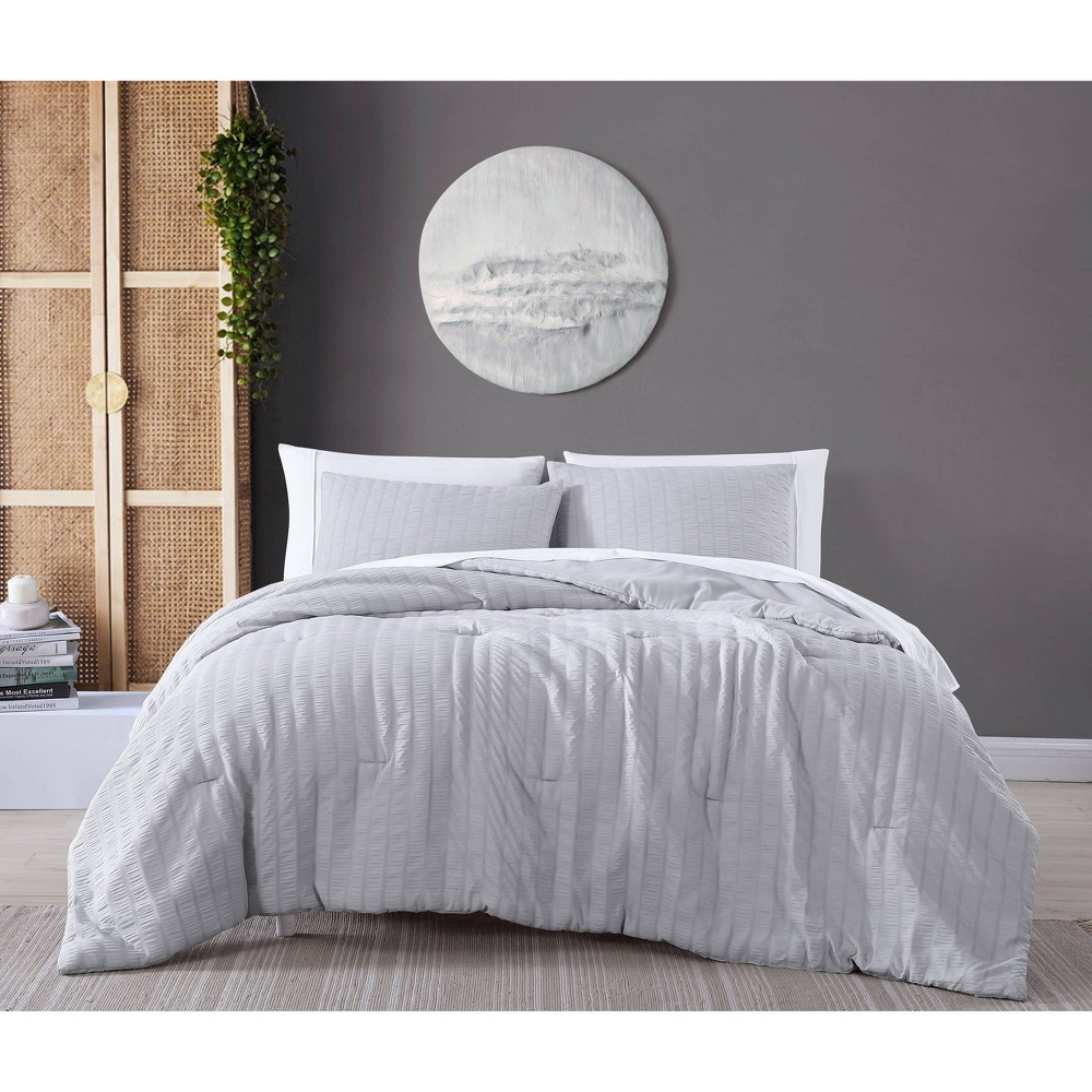 2pc Twin Julie Seersucker Comforter Set Twin Gray Geneva Home Fashion