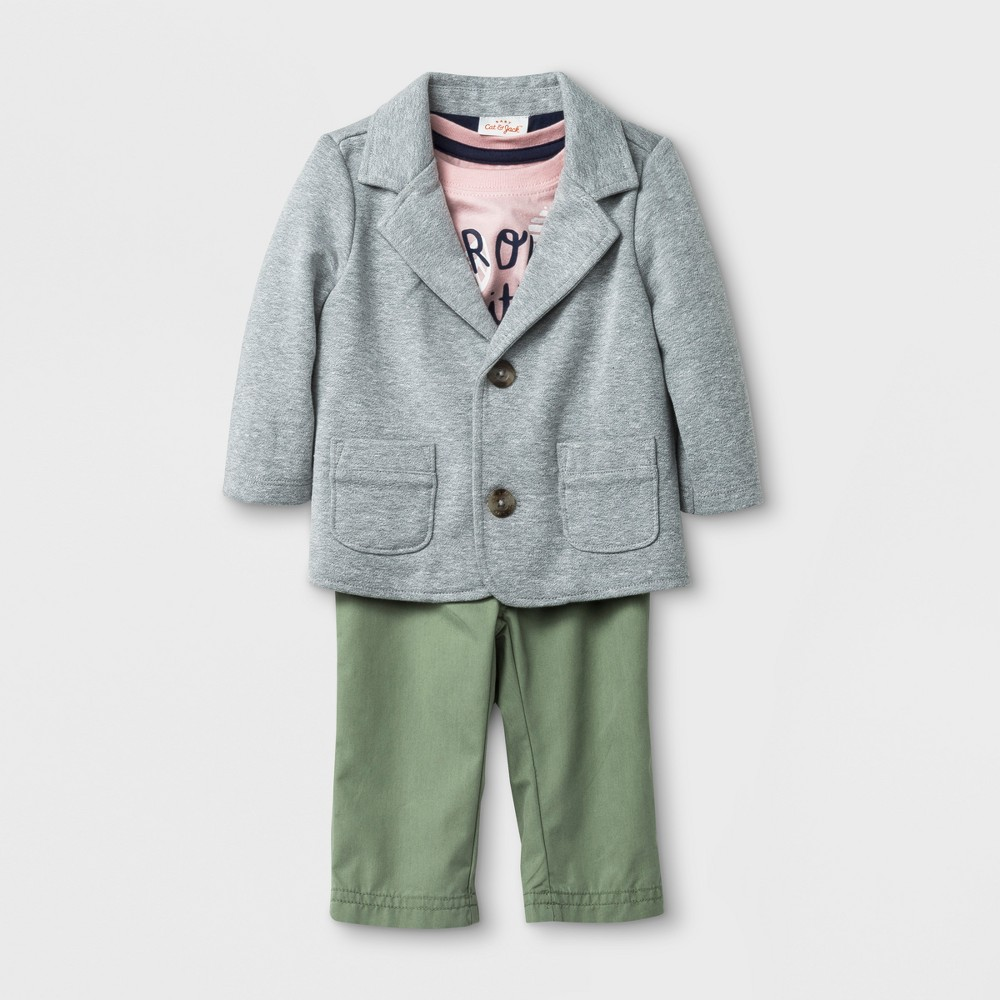 Baby Boys' 3pc Blazer, Short Sleeve T-Shirt and Chinos Set - Cat & Jack Pink/Gray/Green 0-3M