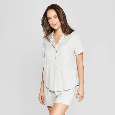 Women's Beautifully Soft Notch Collar Pajama Set - Stars Above™ Gray XL