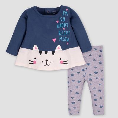 Gerber Baby Girls' 2pc Cat Tunic & Leggings Set - Blue/Gray 3-6M
