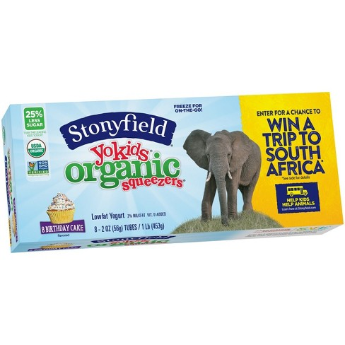 Stonyfield Organic YoKids Squeezers Birthday Cake Yogurt Tubes - 8ct/2oz - image 1 of 1