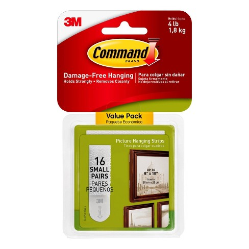 Pack of 4-3M Command Large Picture Hanging Strips Packages 16 Pairs//32 Strips