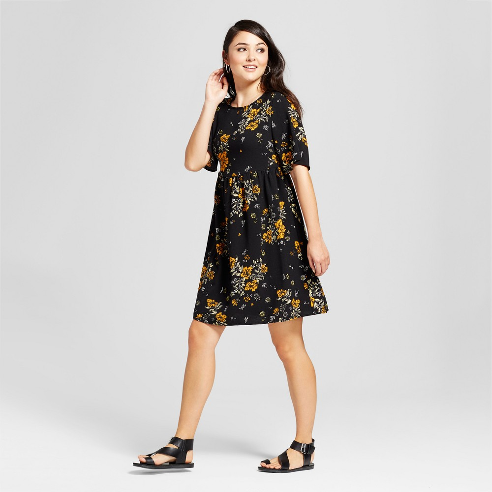Image of Women's Floral Print Short Sleeve Lace-Up Back Babydoll Dress - Alison Andrews Black L, Size: Small