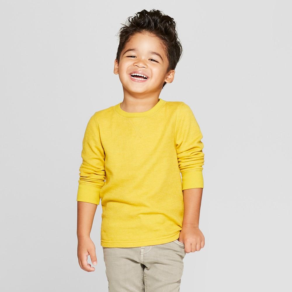 Toddler Boys' Thermal Long Sleeve T-Shirt - Cat & Jack Yellow 18M
