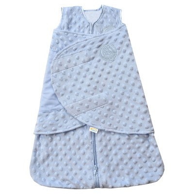 HALO® Sleepsack® Plushy Dot Velboa Swaddle - Blue - NB