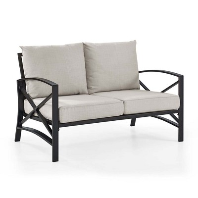Crosley Kaplan Loveseat In Oiled Bronze With Oatmeal Universal Cushion Cover
