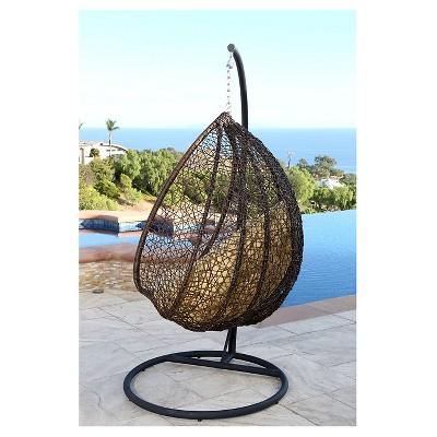 Newport Outdoor Wicker Swing Chair, Yellow   Brown   Abbyson Living