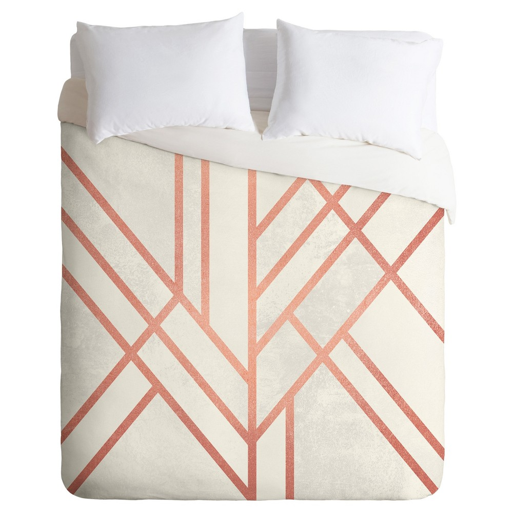 Elisabeth Fredriksson Art Deco Rose Duvet Cover Set (Twin) - Deny Designs, Pink
