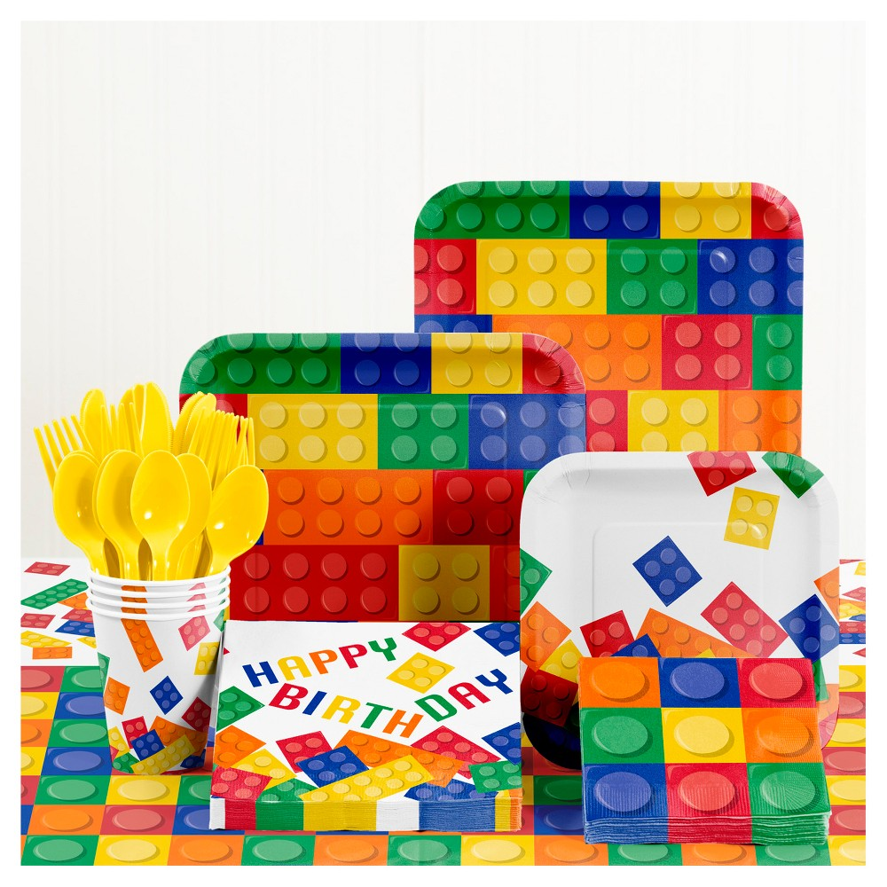 Building Blocks Birthday Party Supplies Kit, Multi-Colored