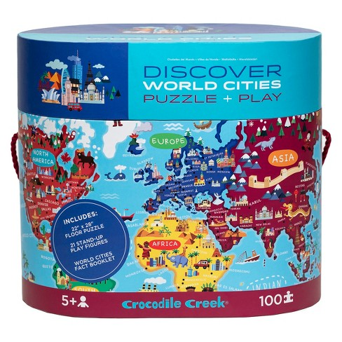 Crocodile Creek Discover: Giant Cities Map Puzzle 100pc on world map puzzle pieces, united states map puzzle, world map bookmarks, world map rug, world map of the floor, world map wood puzzle, world map lettering, world map 1000, printable world map puzzle, world map stickers, world map coloring page preschool, sesame street puzzle, large world map puzzle, world map game, world jigsaw puzzles, continents map puzzle, world map arts and crafts, world map chart, world map clock,