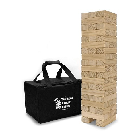 Yard Games On the Go Large Tumbling Timbers Wood Tower Stacking Outdoor Party Game w/ 56 Premium Pine Blocks & Nylon Carrying Case, Starting at 2 Feet - image 1 of 4