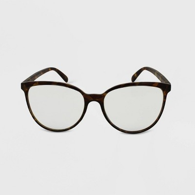 Women's Oversized Tortoise Print Retro Blue Light Filtering Glasses - Wild Fable™ Brown