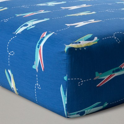 Fitted Crib Sheet Airplanes - Cloud Island™ Blue