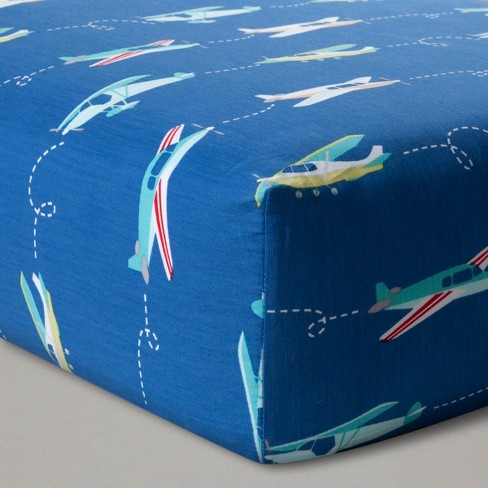 Fitted Crib Sheet Airplanes - Cloud Island™ Blue - image 1 of 3