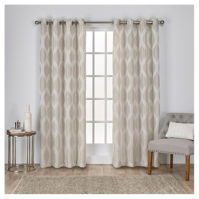 Montrose Ogee Geometric Textured Linen Jacquard Grommet Top Window Curtain Panel Pair - Exclusive Home™